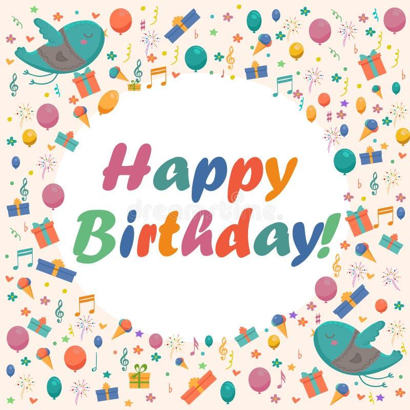 Tarjeta de cumpleaños con los pájaros, las flores y los globos lindos, regalos del helado stock de ilustración