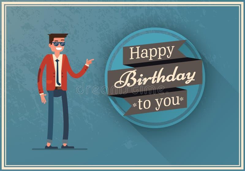 Tarjeta de cumpleaños con un hombre feliz libre illustration