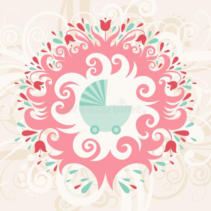 Tarjeta de cumpleaños del bebé stock de ilustración