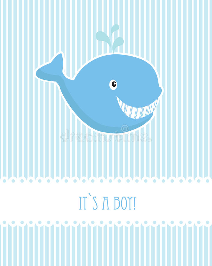 Tarjeta de cumpleaños del bebé con la ballena ilustración del vector