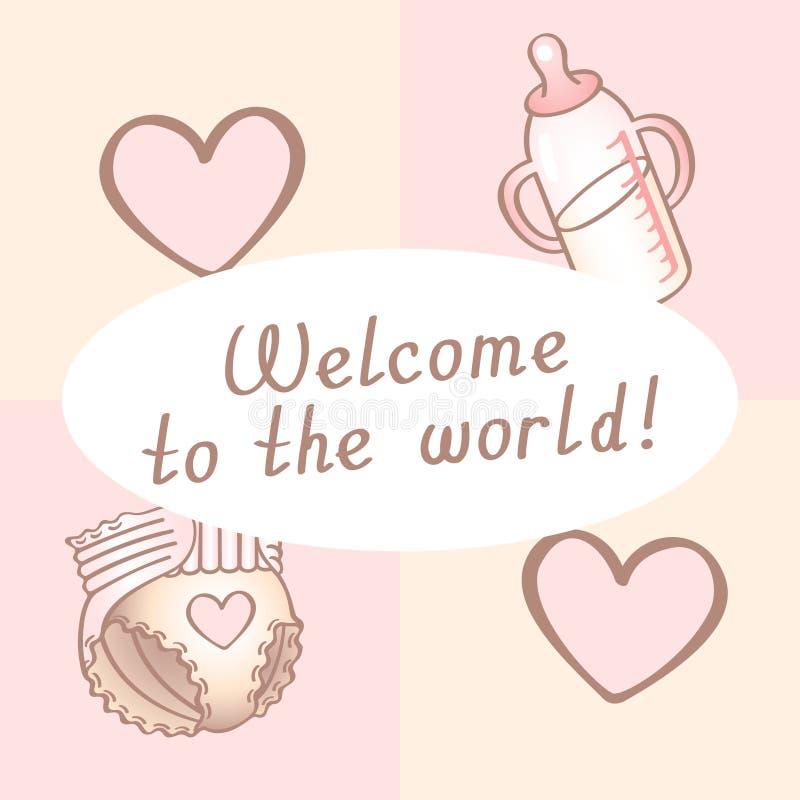 Tarjeta de cumpleaños del bebé, tarjeta de la ducha, tarjeta de la invitación, tarjeta de felicitación, cartel Recepción al mundo ilustración del vector