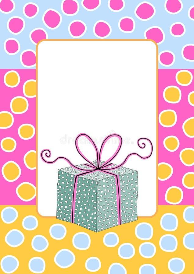 Tarjeta de cumpleaños del marco de caja de regalo stock de ilustración