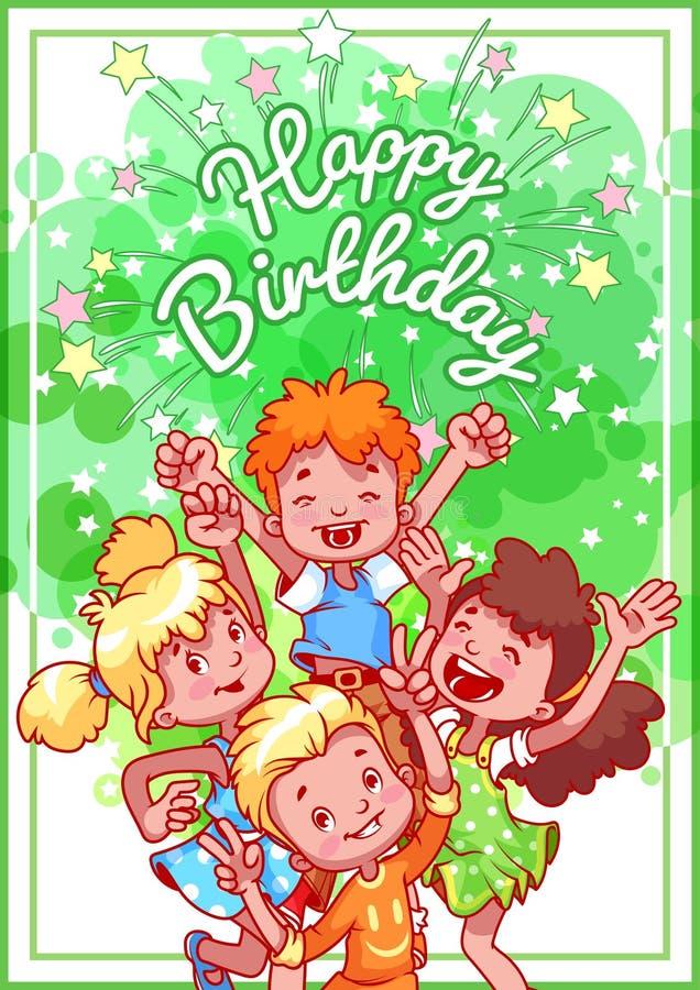 Tarjeta de cumpleaños del saludo con niños felices stock de ilustración