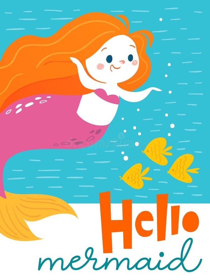 Tarjeta de cumpleaños del vector con el carácter de la sirena de la historieta y tres pocos pescados ilustración del vector