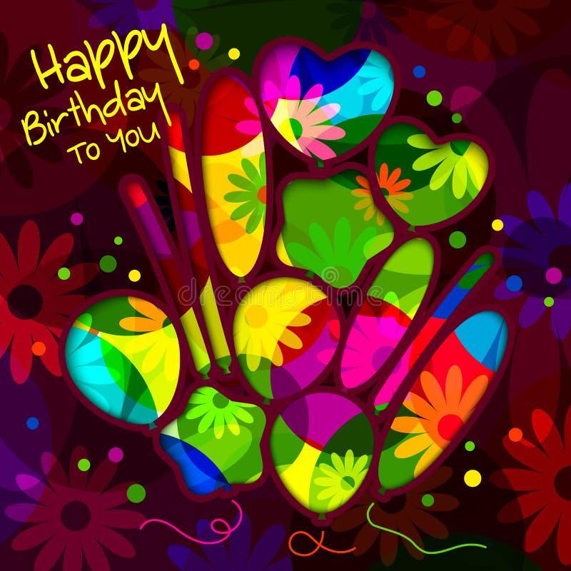 Tarjeta de cumpleaños en el estilo de los recortes con los globos en fondo colorido de las flores Vector stock de ilustración