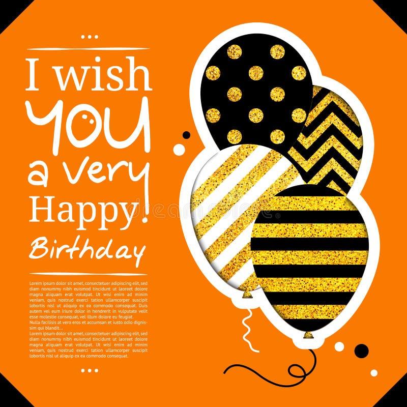 Tarjeta de cumpleaños en el estilo de los recortes con los globos en fondo de oro del brillo Vector ilustración del vector