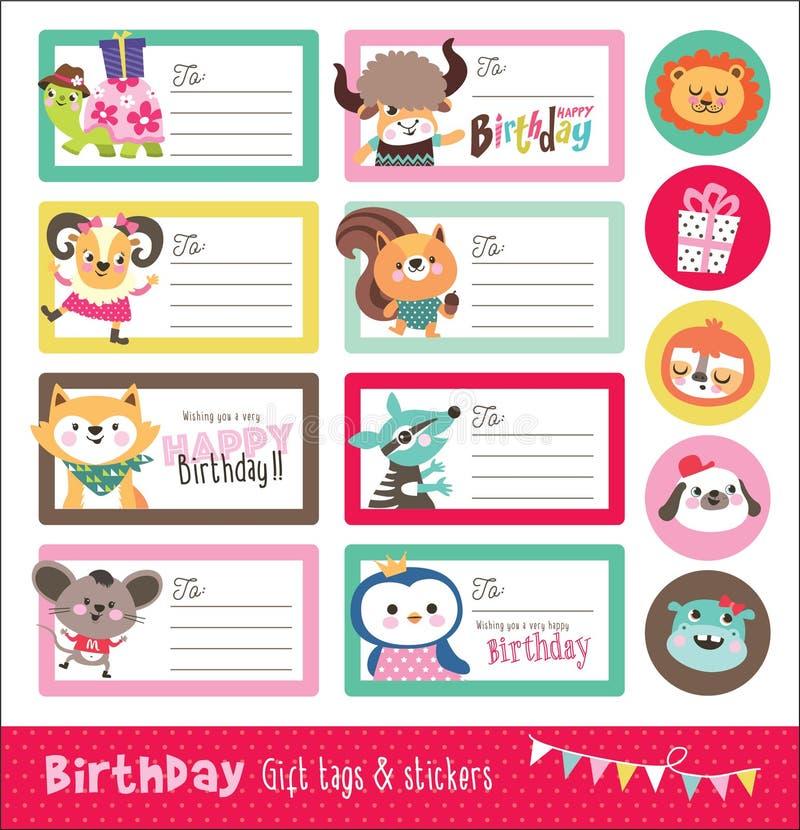 Tarjeta de cumpleaños, etiquetas del regalo y etiqueta engomada ilustración del vector