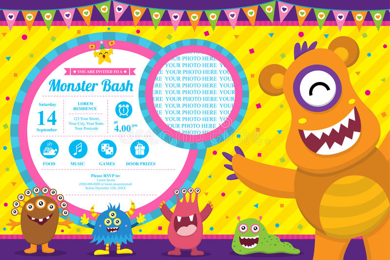 Tarjeta de cumpleaños linda de la invitación del monstruo libre illustration