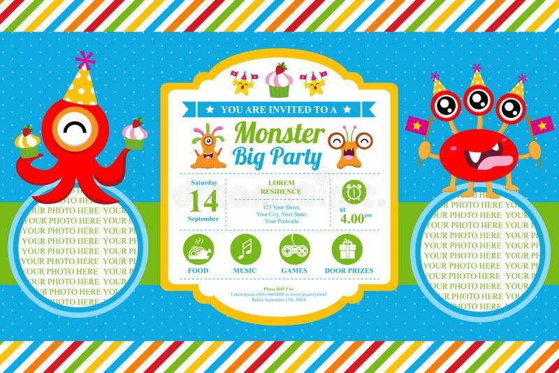 Tarjeta de cumpleaños linda de la invitación del monstruo stock de ilustración
