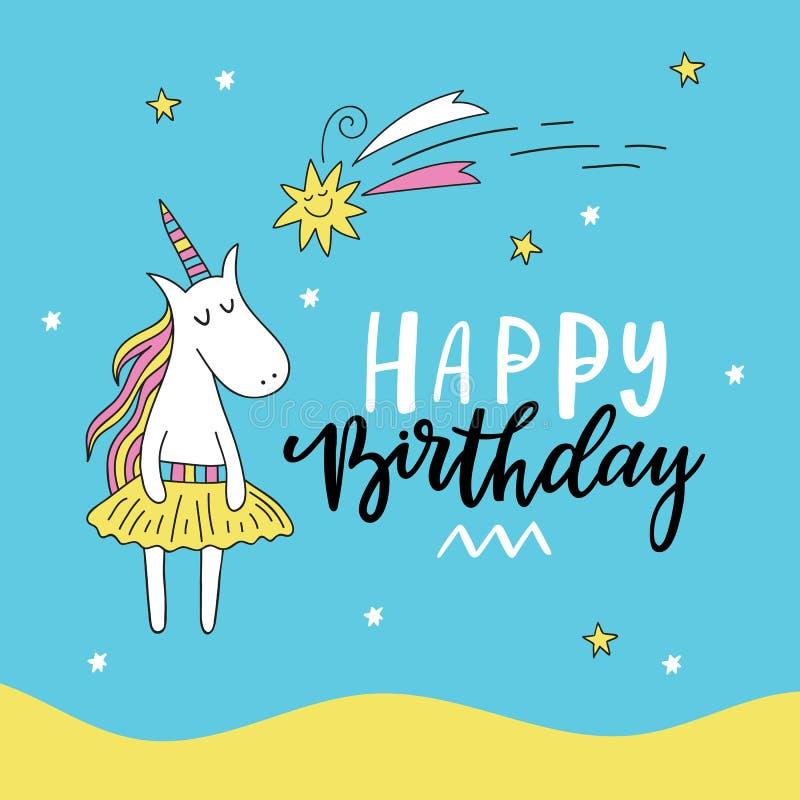 Tarjeta de cumpleaños linda del unicornio del garabato Ilustración del vector stock de ilustración