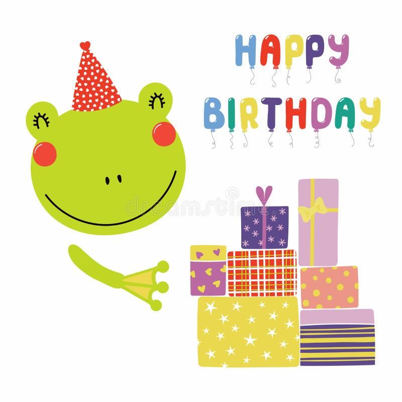 Tarjeta de cumpleaños linda de la rana ilustración del vector