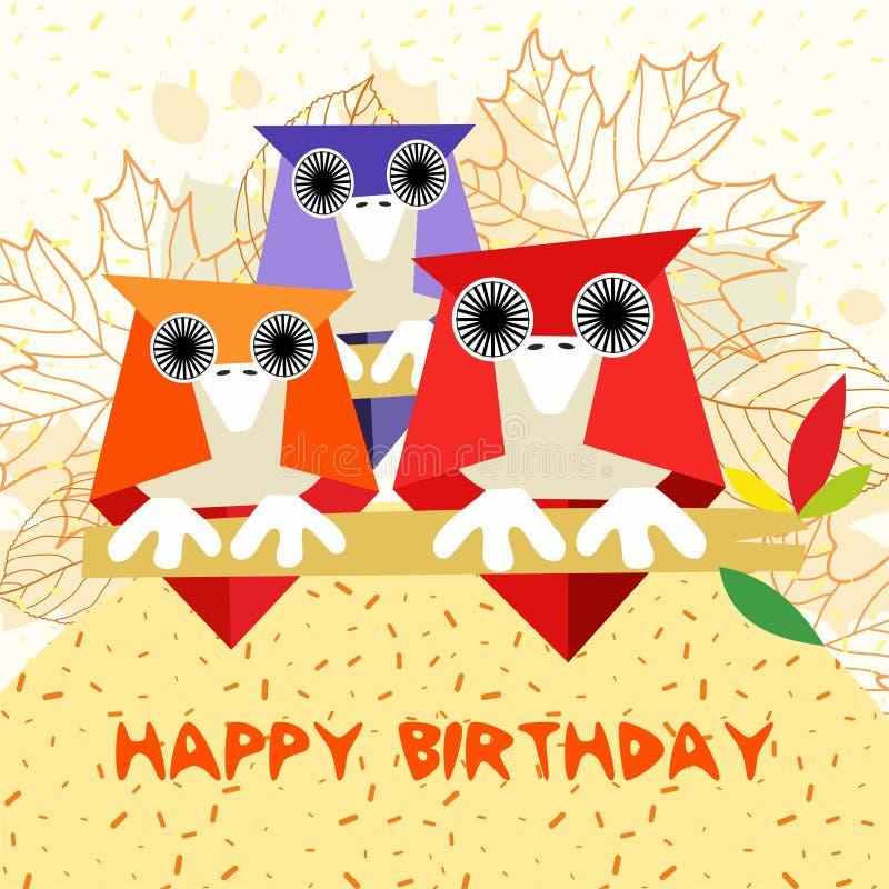Tarjeta de cumpleaños de los niños para con los búhos - tiempo del otoño - vector stock de ilustración