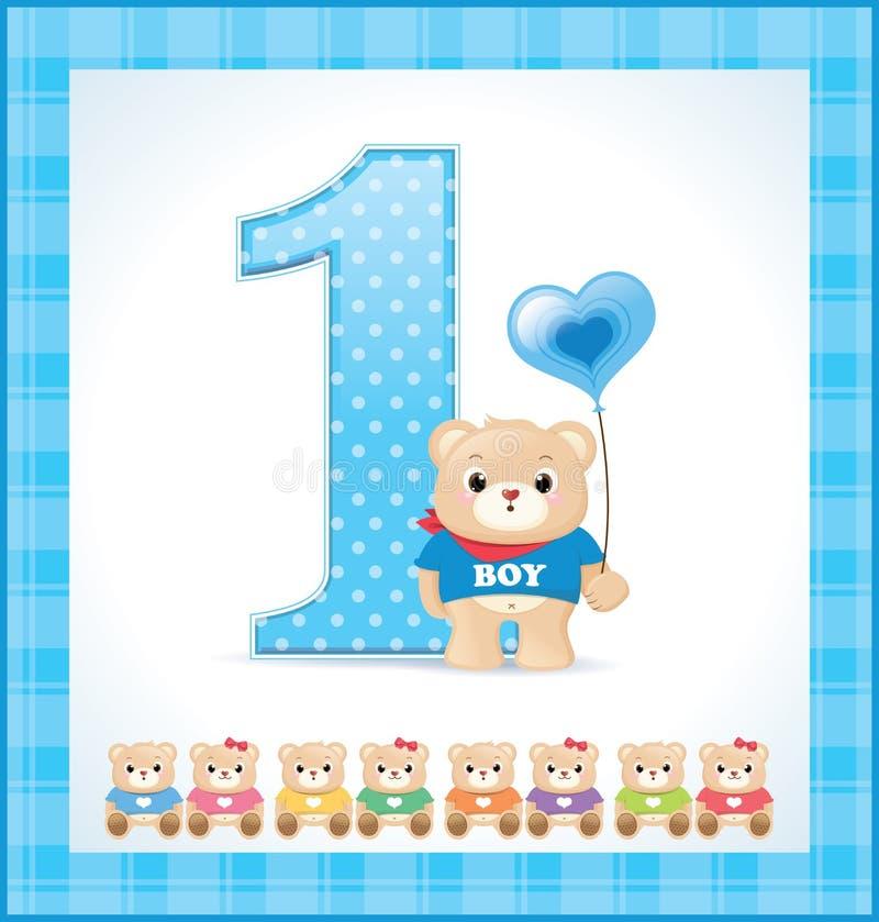 Tarjeta de cumpleaños para el bebé stock de ilustración