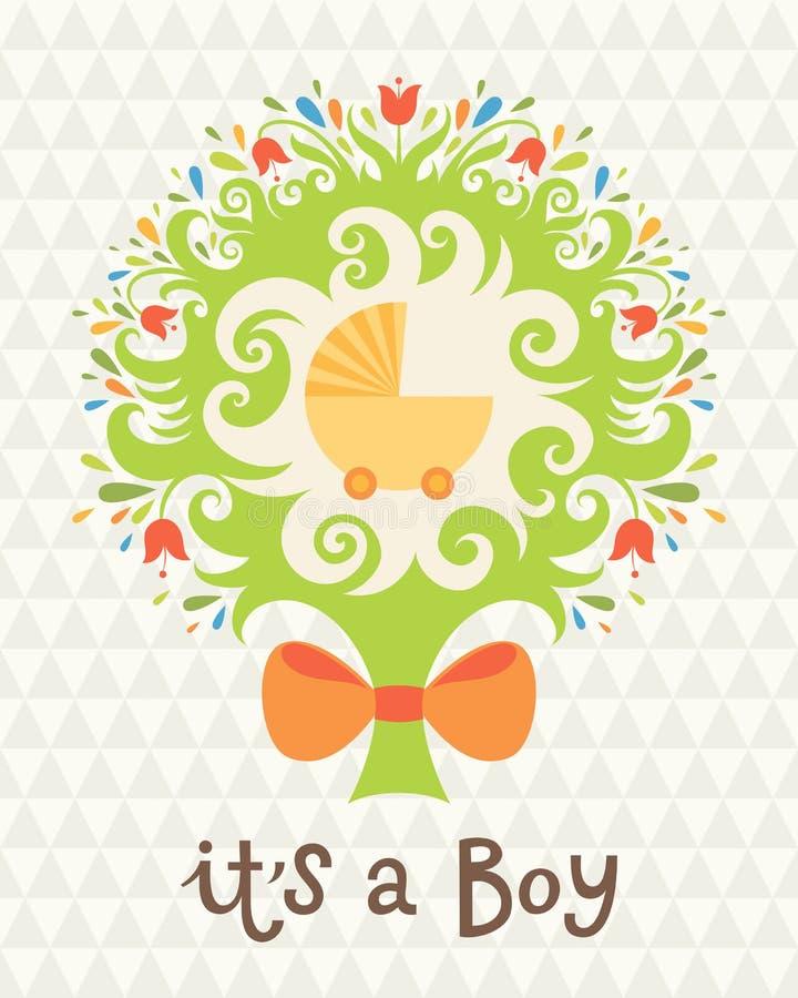 Tarjeta de cumpleaños para el muchacho. ilustración del vector