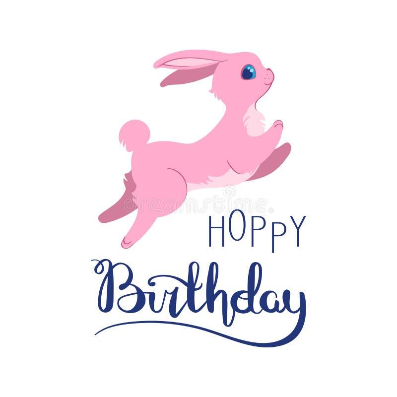 Tarjeta de cumpleaños tonta del conejito ilustración del vector