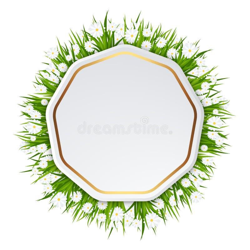 Tarjeta de cumplea?os brillante Capítulo con la hierba verde enorme ilustración del vector