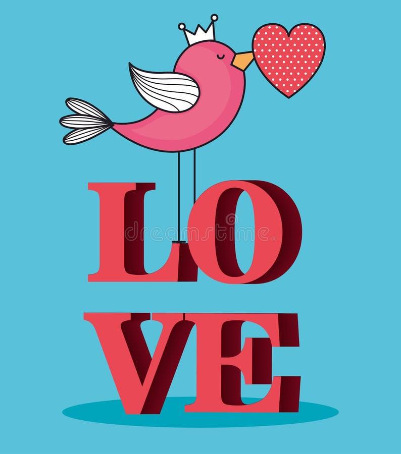 Tarjeta de día de San Valentín con el pájaro y la palabra del amor stock de ilustración