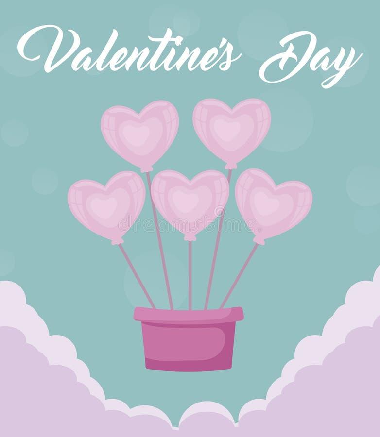 Tarjeta de día de San Valentín con helio de los globos ilustración del vector