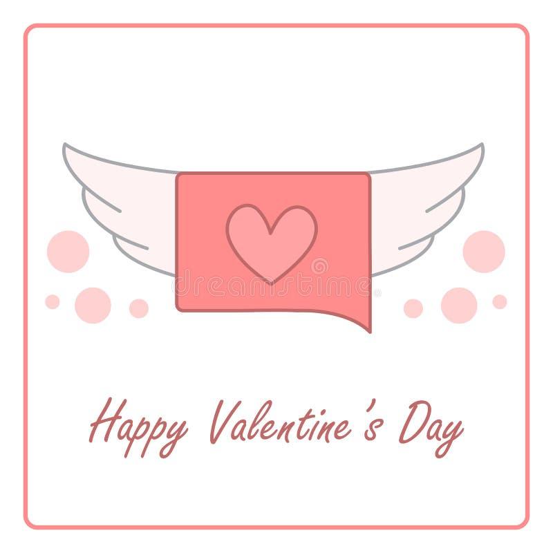 Tarjeta de día de San Valentín con la burbuja del discurso ejemplo del diseño del vector stock de ilustración