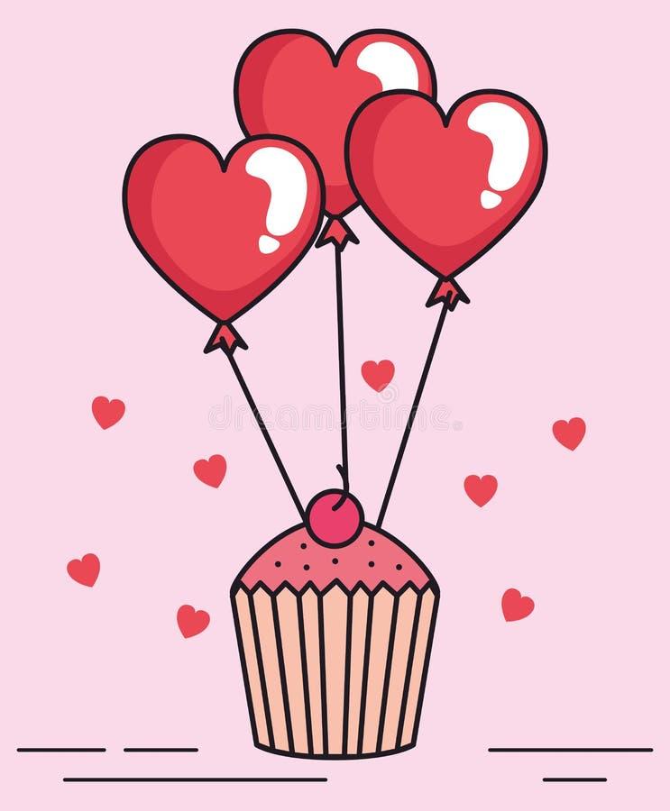 Tarjeta de día de San Valentín con la magdalena y el helio de los globos libre illustration