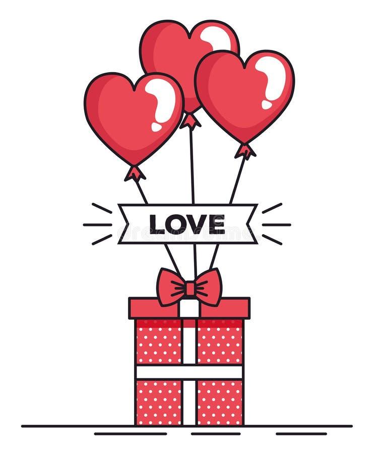 Tarjeta de día de San Valentín con los globos helio y regalo stock de ilustración