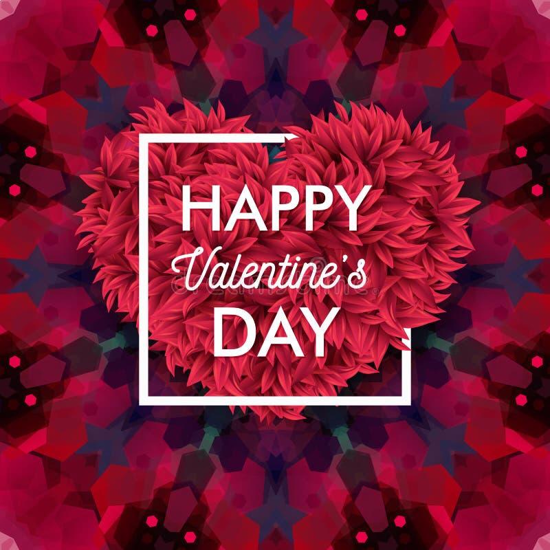 Tarjeta de día de San Valentín en fondo colorido, geométrico del mosaico stock de ilustración