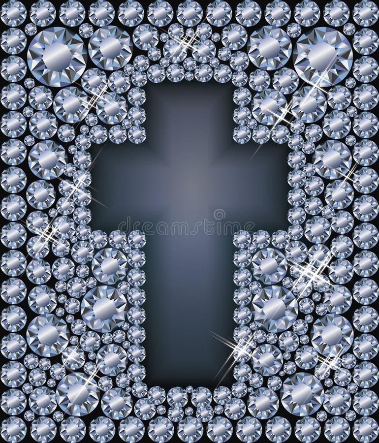 Tarjeta de Diamond Easter con la cruz católica, vector libre illustration