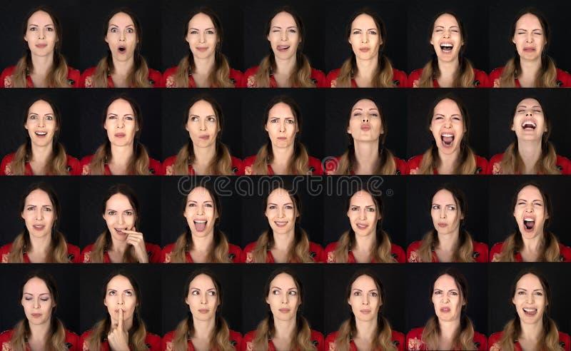 Tarjeta de emoción de actor Collage de mujeres adultas jóvenes con diversas expresiones positivas seis emociones imagenes de archivo