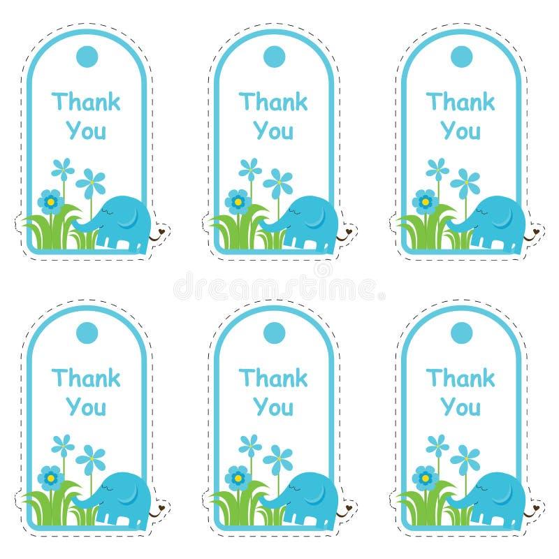 Tarjeta de etiqueta de la fiesta de bienvenida al bebé con el elefante y las flores lindos ilustración del vector