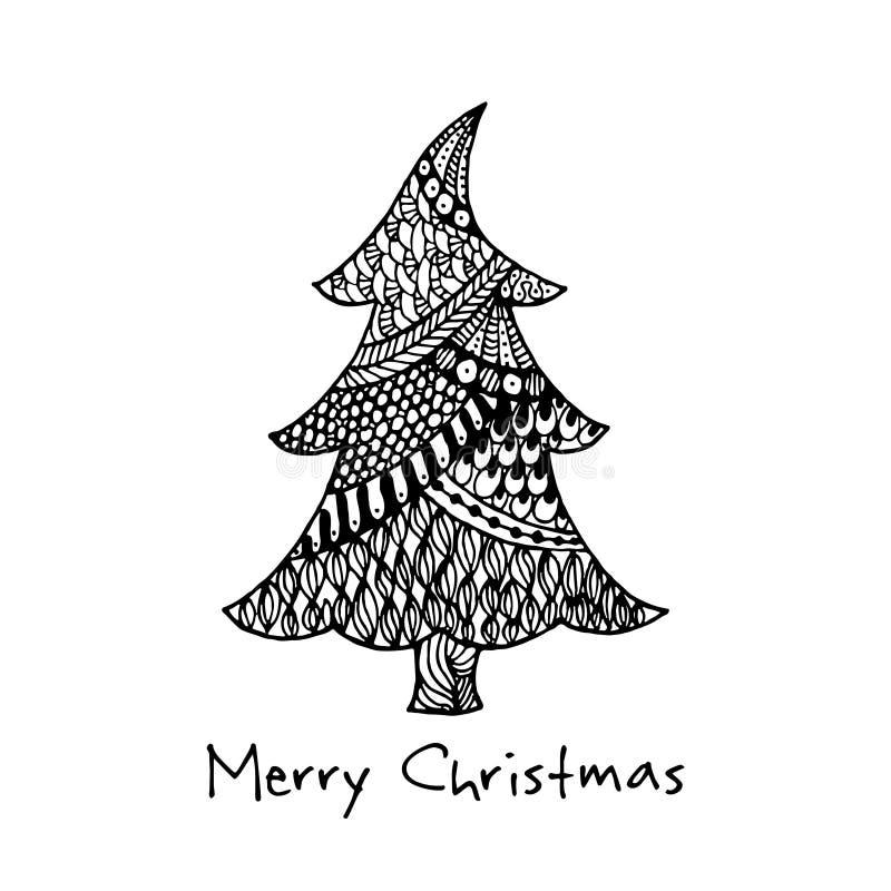 Tarjeta De Felicitacin Con El rbol De Navidad Dibujado Mano