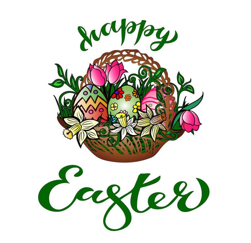 Tarjeta de felicitación 'Pascua feliz 'con la enhorabuena manuscrita stock de ilustración