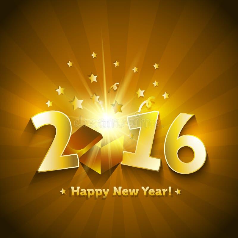 tarjeta de felicitación abierta de la Feliz Año Nuevo de la caja de regalo 2016 ilustración del vector