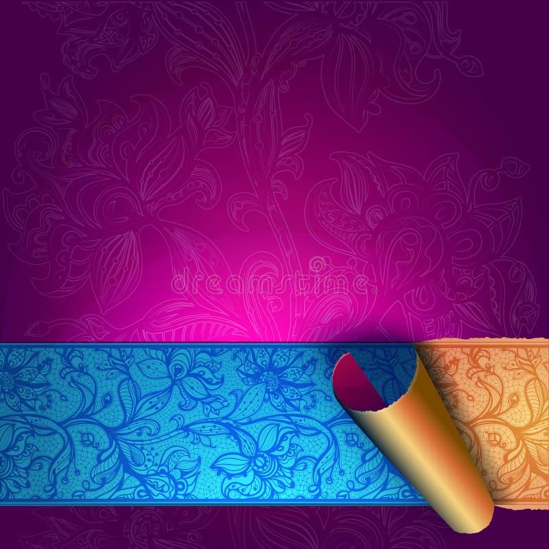 Tarjeta de felicitación abstracta, fondo con las flores y hojas decorativas. libre illustration