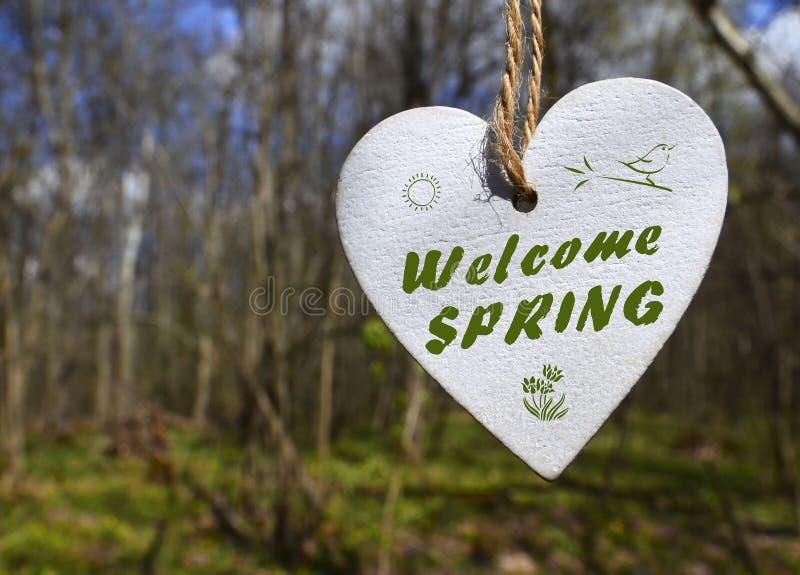 Tarjeta de felicitación agradable de la primavera con el corazón de madera blanco decorativo con el texto en un fondo borroso del libre illustration