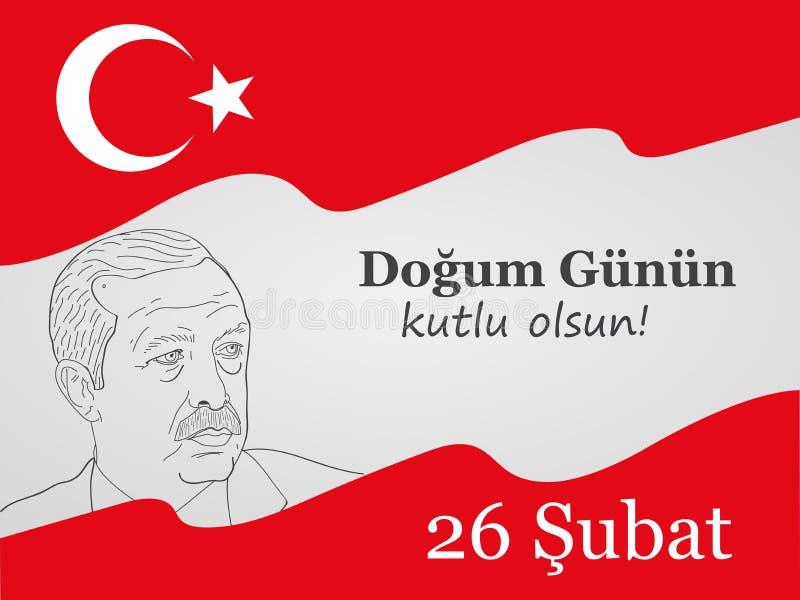 Tarjeta de felicitación al cumpleaños del presidente de Turquía, ErdoÄŸan, traducción del turco: Feliz cumpleaños, gran amo libre illustration