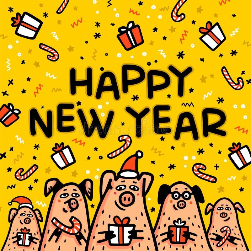 Tarjeta de felicitación amarilla del cerdo de la Feliz Año Nuevo Cerdos divertidos con los bastones de caramelo, los regalos y lo ilustración del vector