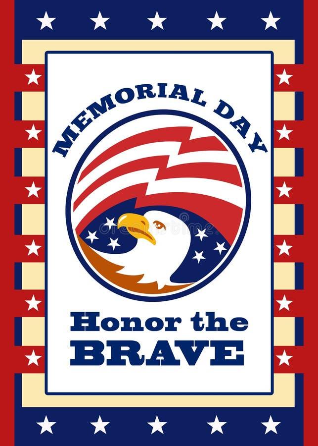 Tarjeta de felicitación americana del cartel del Memorial Day del águila ilustración del vector
