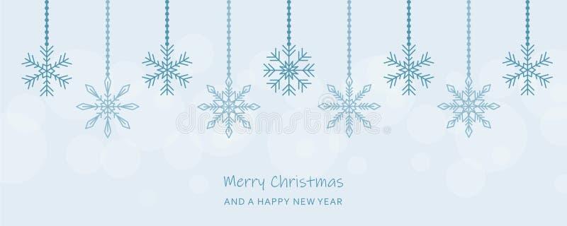 Tarjeta de felicitación azul colgante de la decoración de los copos de nieve de la Navidad ilustración del vector