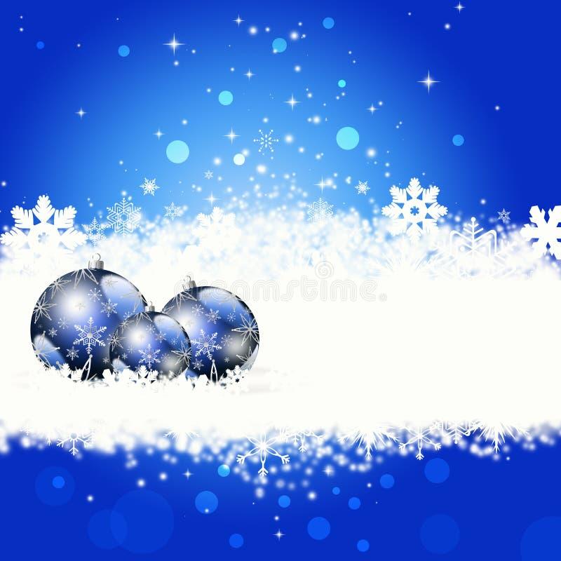 Tarjeta de felicitación azul de la Navidad stock de ilustración