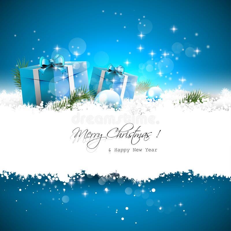 Tarjeta de felicitación azul de la Navidad ilustración del vector