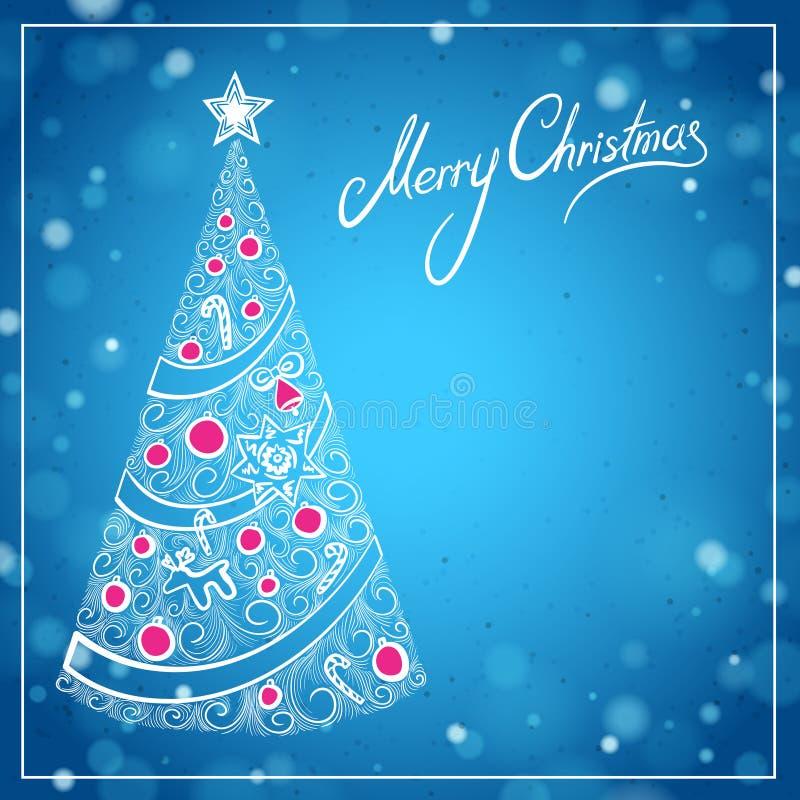 Tarjeta de felicitación azul de la Navidad con las letras del árbol de navidad dibujado mano y de la Feliz Navidad libre illustration