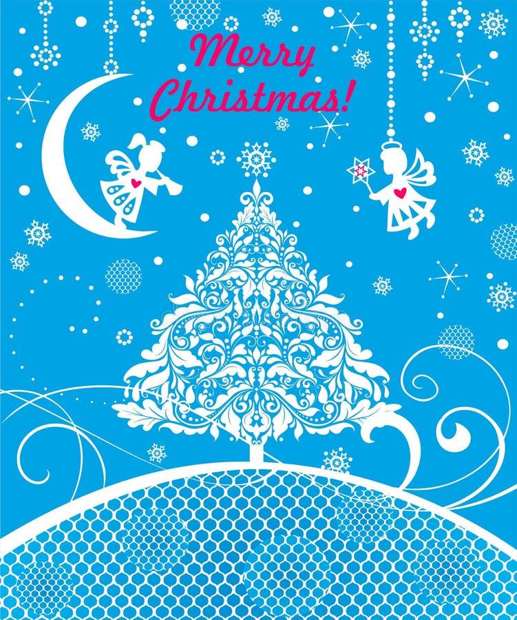 Tarjeta de felicitación azul de Navidad del arte con el papel que corta pequeños ángeles, los copos de nieve, la estrella del árb libre illustration