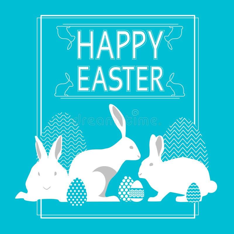 Tarjeta de felicitación azul Pascua del grupo del conejo del día de fiesta feliz de Bunny With Sketch Painted Eggs libre illustration