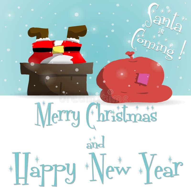 Tarjeta de felicitación azul de Santa Claus del Año Nuevo ilustración del vector