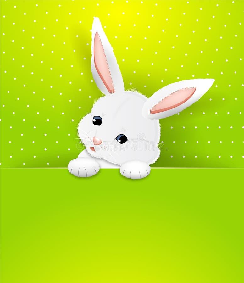 Tarjeta de felicitación blanca adorable del conejo de Pascua Vector ilustración del vector