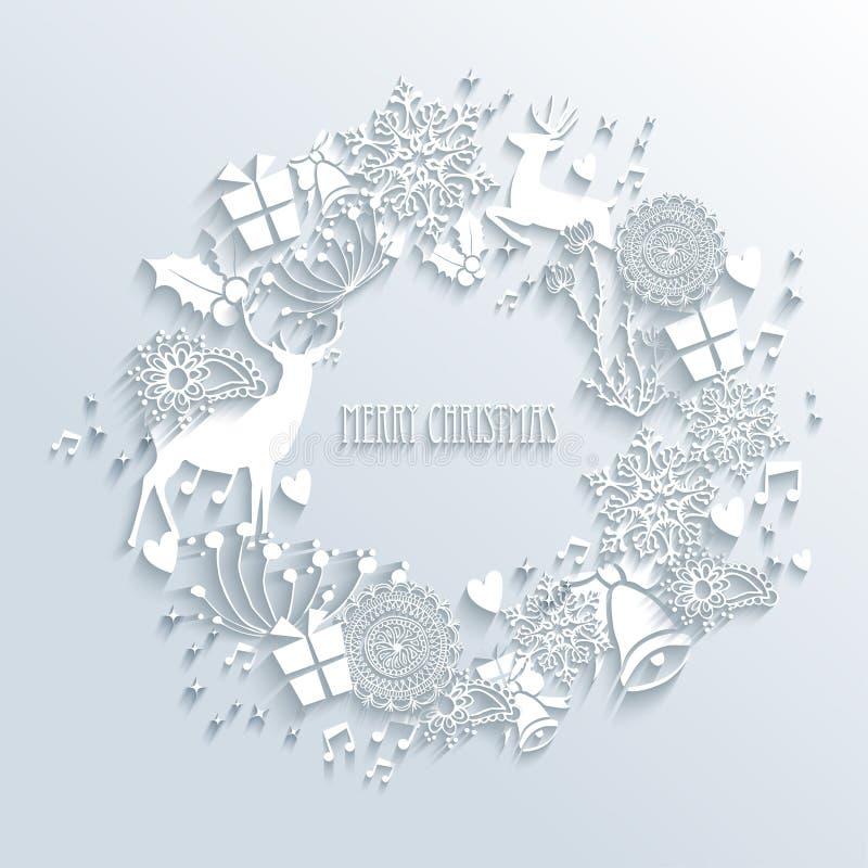 Tarjeta de felicitación blanca de la guirnalda de la Feliz Navidad libre illustration