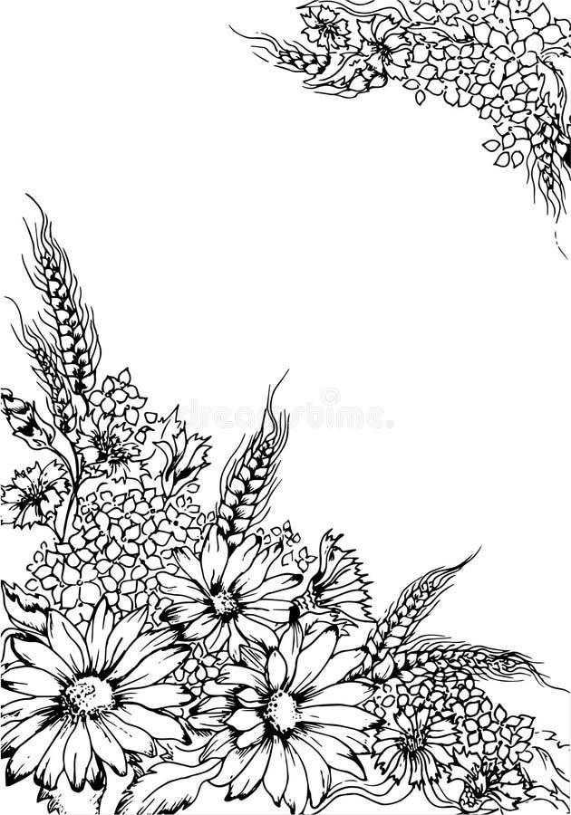 Tarjeta de felicitación blanco y negro del ejemplo con las flores stock de ilustración