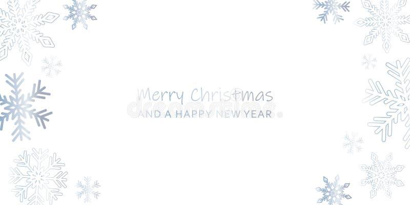 Tarjeta de felicitación brillante de la Navidad con los copos de nieve y el backgro blanco libre illustration