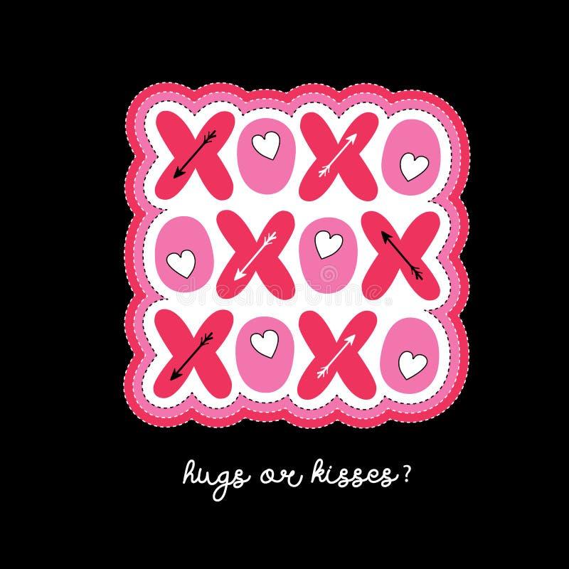 Tarjeta de felicitación brillante plana del vector de la tipografía del día de tarjeta del día de San Valentín de XOXO Corazones  ilustración del vector