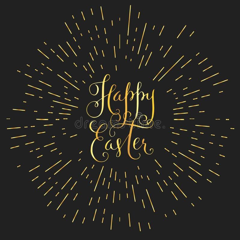 Tarjeta de felicitación caligráfica feliz de Pascua ilustración del vector